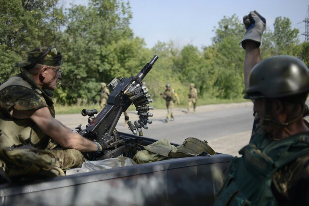 Members of Ukrainian self-defence battalion «Donbass» are seen at their positions near the