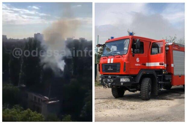 Пожар охватил военный объект в Одессе, густой дым окутал здание: видео ЧП