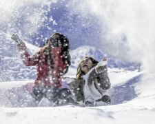 зима, счастье, радость, женщина