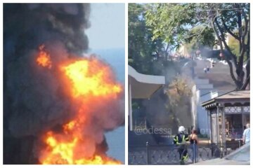 В Одессе загорелась Потемкинская лестница: видео с места ЧП