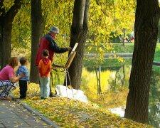 погода, осень, парк, художник