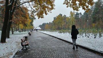 погода снег осень