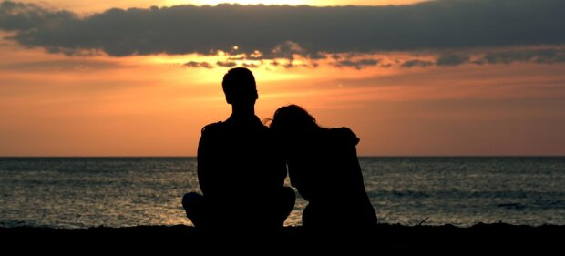 пара закат любовь