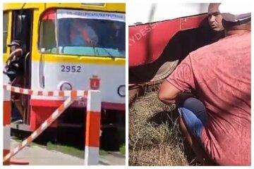 """Мужчина оказался под трамваем в Одессе, кадры несчастья: """"Косил газон"""""""