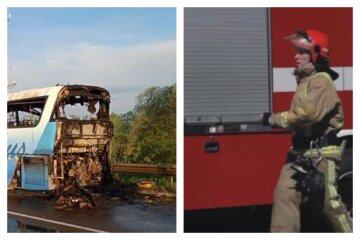 Автобус с украинцами вспыхнул на ходу, слетелись спасатели: кадры и детали ЧП