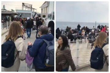 """На пляжах """"червоної"""" Одеси спостерігався аншлаг, відео: """"Зате магазини закриті, трусів не купиш"""""""