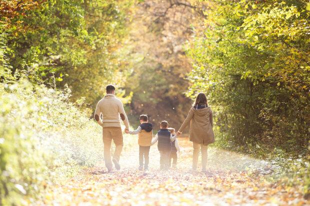 сентябрь, выходные, семья, прогулка, лес, отдых