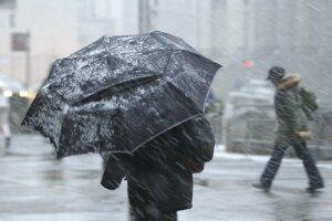 Непогода, мокрый снег, циклон