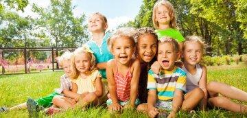 дети, лужайка, лето