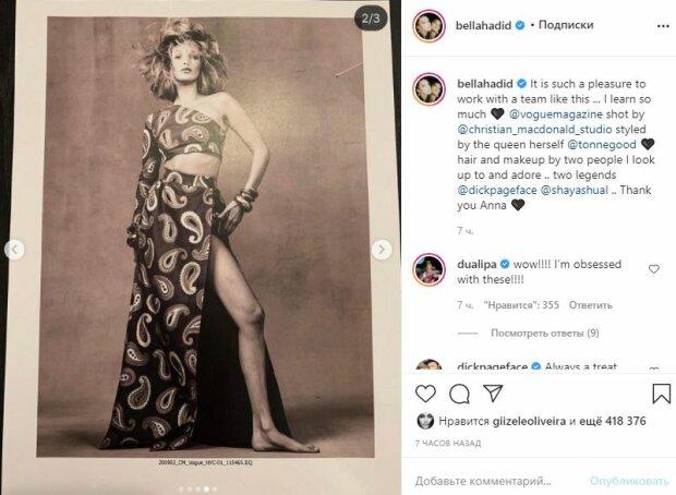 """Белла Хадид из """"Victoria's Secret"""" изумила изгибами в разрезе до бедра, Дуа Липа не сдержалась: """"Я одержима"""""""