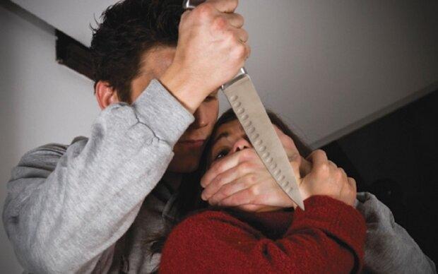 удар ножом, мужчина, женщина