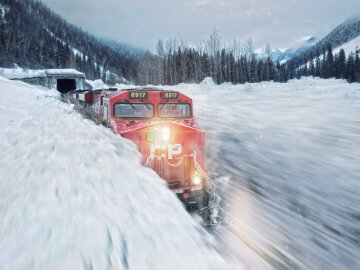 поезд, снег, снегопад