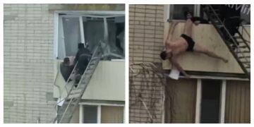 """Под Харьковом  мужчина повис на балконе, кадры событий: """"Пытались затащить его внутрь, но..."""""""