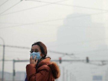 выбросы, грязный воздух, китай, женщина