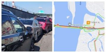 """В Киеве на мосту столкнулись шесть машин, кадры с места: """"Движение затруднено"""""""