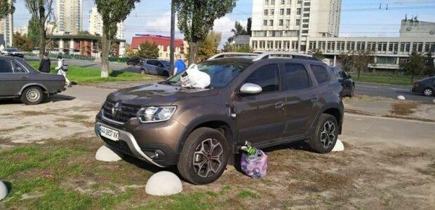 """Нахабний водій нарвався на помсту киян, фото: """"Покарали любителя паркуватися на зеленій зоні"""""""