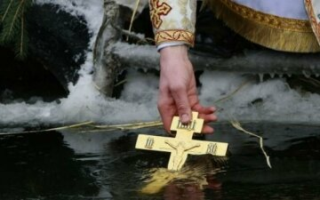 крещение, прорубь, крест