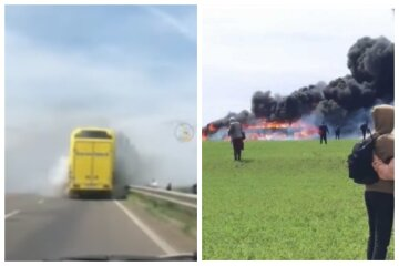"""Видео начала пожара в рейсовом автобусе на трассе Киев-Одесса: """"сгорел весь багаж"""""""