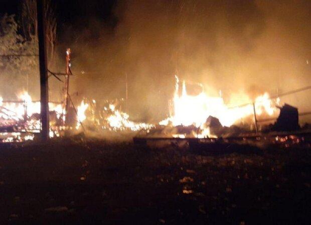 Пожежа охопила базу відпочинку у Одеській області, будиночки згоріли дотла: кадри НП
