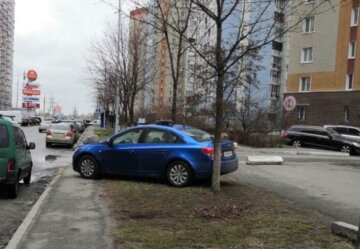 """Киевляне наказали наглого водителя за парковку, фото: """"забросали булыжниками и..."""""""