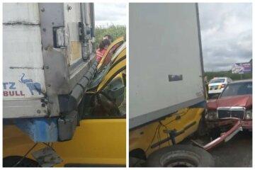 Кадры трагического ДТП на украинской трассе: легковушку зажало между грузовиком и авто