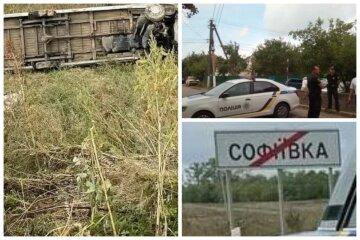 На украинской трассе перевернулся автобус, есть жертвы: кадры с места ДТП