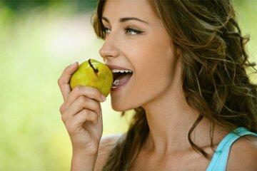 девушка, груша, питание, еда, фрукты