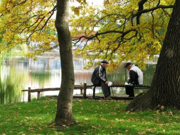 осень, погода, парк, пенсионеры