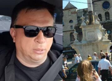 """Россиянин начал бросаться на людей посреди Львова, видео: """"Должны понимать, где они находятся"""""""
