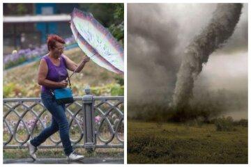 смерч, погода, сильний вітер, жензина з парасолькою