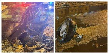 """П'яний водій влетів в острівець безпеки в Харкові, моторошні фото: """"колесо відлетіло в..."""""""