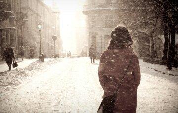 зима, женщина, одиночество