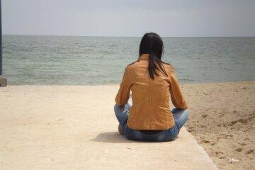 море женщина девушка одиночество весна погода