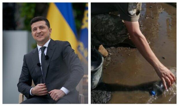 """Військові вигрібали воду з калюж перед візитом Зеленського, кадри: """"черпали пляшками і листям"""""""