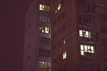 ночь окно дом