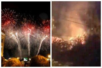 """Праздник в Одессе закончился пожаром, видео: """"Постреляли салют"""""""
