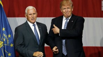 Indiana Gov. Mike Pence joins Republican presidential candidate Donald Trump at a rally in Westfield