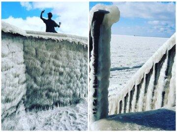 Азовское море замерзло, фото: коллаж Politeka