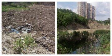 """В Киеве озера засыпают строительным мусором, фото: """"уничтожили под застройку"""""""