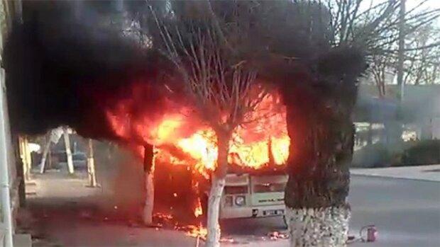 Автобус з бійцями Нацгвардії спалахнув під Одесою: кадри НП потрапили на відео