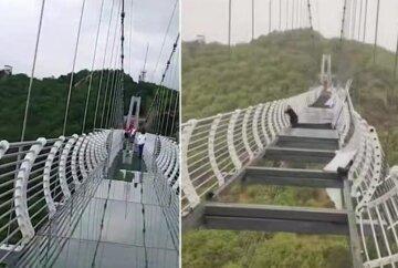 Турист попал в западню на стеклянном мосту: до земли 100 метров, кадры с места