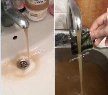 """После ливня у одесситов из крана потекла коричневая жижа, видео: """"Сточные воды"""""""