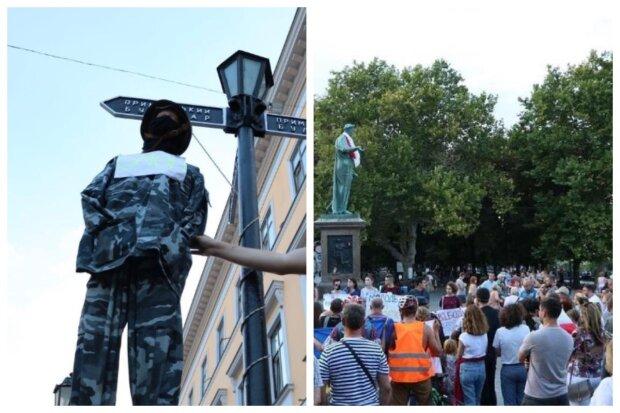 """Одесситы устроили бунт против Лукашенко в центре города, фото: """"повесили  омоновца"""""""