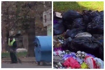 """""""Один отдувается за всех"""": несчастного дворника пригнали разгребать горы мусора в Одессе, кадры"""