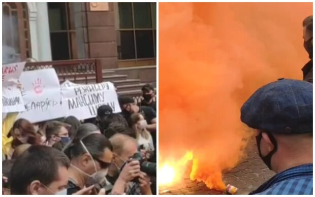 Бунт з Білорусі перекинувся на Київ, посольство атакували, вулицю огорнуло димом: кадри з місця