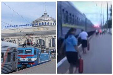 Одесский поезд загорелся во время движения: видео ЧП