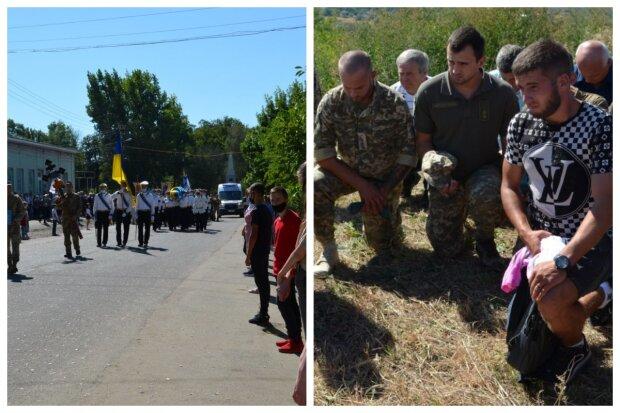 """""""На коленях и под звуки марша"""": сотни людей простились с героем на Одесчине, фото"""