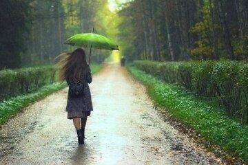 девушка, дождь, зонт