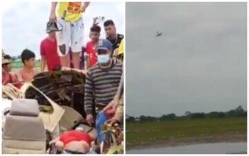 """Літак з медиками впав на очах у очевидців і вибухнув, кадри трагедії: """"Намагалися допомогти, але..."""""""