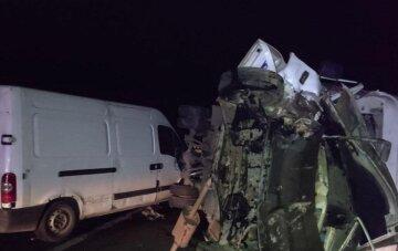 Два мікроавтобуси не розминулися на українській трасі: машину зім'яло від удару, кадри ДТП